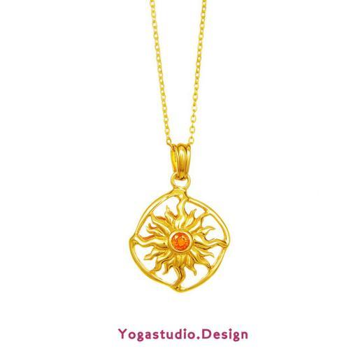 Yoga Schmuck Sonnenrad Anhänger 28mm Vergoldet mit Saphir