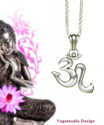 Yoga OM Symbol Anhänger Sterlingsilber mit Öse 27mm