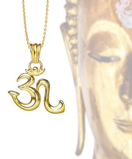 Yoga OM Zeichen-Anhänger Sterlingsilber mit Öse 27mm 18 Karat vergoldet