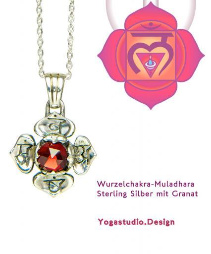Yoga Schmuck Wurzel Chakra Muladhara Anhänger Silber 20mm mit Granat