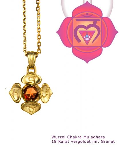 Yoga Schmuck Wurzel Chakra Muladhara Anhänger Gold 20mm mit Granat