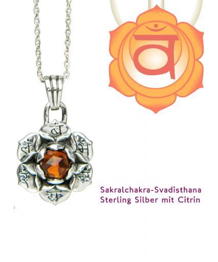 Chakra Schmuck Sakral Svadisthana Anhänger Silber 20mm mit Madeira Citrin