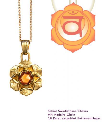 Chakra Schmuck Sakral Chakra Svadisthana Anhänger vergoldet 20mm mit Madeira Citrin