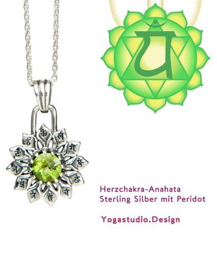 Yoga Chakra Herzchakra Anahata Anhänger Silber 20mm mit Peridot
