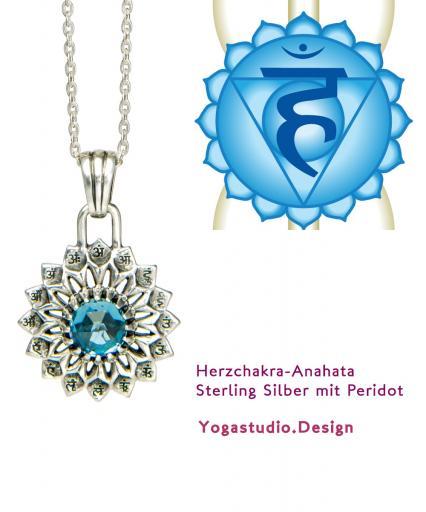 Yoga Chakra Halschakra Vissudha Anhänger Silber 20mm mit Topas