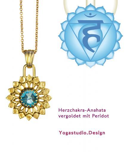 Yoga Chakra Halschakra Vissudha Anhänger vergoldet 20mm mit Topas