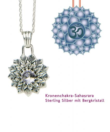 Yoga Chakra Kronenchakra Sahasrara Anhänger Silber 20mm mit Bergkristall
