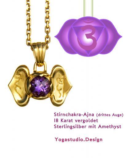 Yoga Chakra Stirnchakra Ajna Anhänger vergoldet mit Amethyst