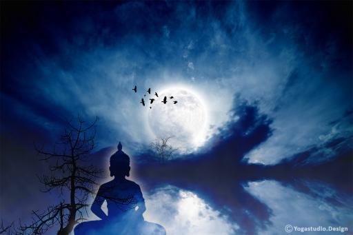 Wanddeko Fotomotiv Moonlight Thai Buddha Design