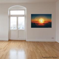 Wanddeko Sunset Mandala mit Tibetischem OM