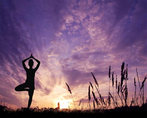 Yoga Übung Baum Vrikshasana mit Licht im Kornfeld