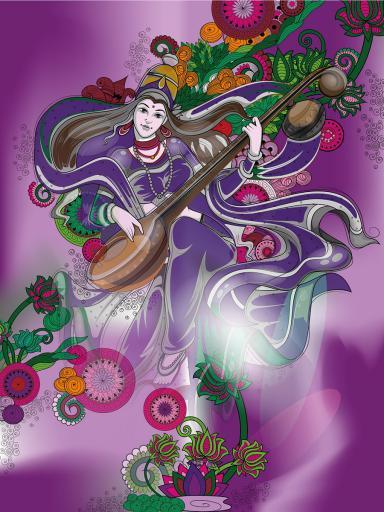 Wanddeko Hindu Göttin Saraswati für Kreativität und Weisheit