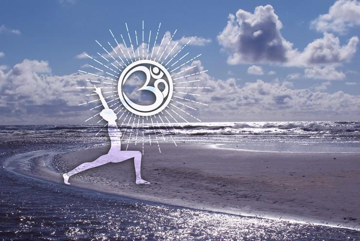 Wanddeko Außen Yoga Held am Strand